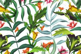 Alfa Img Showing Gt French Country Style Palm Leaves Tropical Flowers Patterns Creative Market