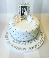 diamond wedding anniversary cake with quilting and edible frame