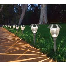 solar led walkway lights member s mark solar led pathway lights 10 pack sam s club