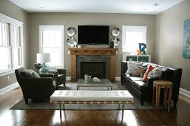 Large Living Room With Fireplace And Tv Living Room Layout Ideas Modern Fireplace Wallmount Shelves Window