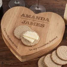 cheese board engraved personalised heart shaped wooden cheeseboard set couples
