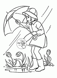 rainy spring and tulips coloring page for kids seasons coloring