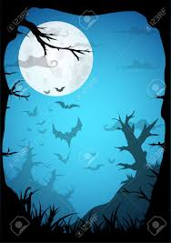 night halloween a4 format background with creepy graveyard and