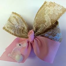 easter hair bows burlap bunny embroidered easter hair bow pink hairbow medium