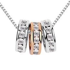 swarovski necklace white gold images La javardi three ring18k gold plated swarovski element crystal jpg