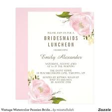 luncheon invitations bridesmaid luncheon invitations vintage watercolor peonies