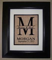 monogrammed wedding gifts personalized monogram burlap print wedding gift housewarming