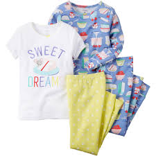 s toddler 4 pc sweet dreams snug fit cotton pajamas