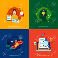 Keywords For Human Resources Resume Flat Icons Set For Human Resources Personal Career Building