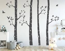 birch tree mural etsy