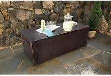 rubbermaid patio chic outdoor storage trunk dark teak basket weave