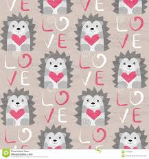 hedgehog wrapping paper hedgehog with heart seamless pattern stock vector image 61560395