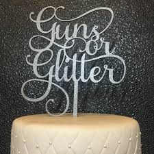 glitter cake topper baby shower cake topper guns or glitter cake topper gender