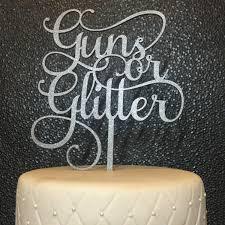 gender reveal cake topper baby shower cake topper guns or glitter cake topper gender