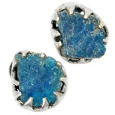 blue gem rings images Rough blue apatite stud earrings rough stone and gem jewelry jpg