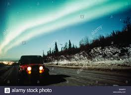 jeep arctic alaska anchorage aurora borealis or northern lights above jeep