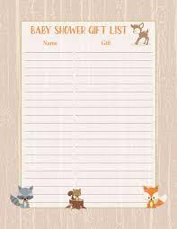 gift list baby shower gift list forest animals woodland baby shower theme