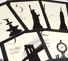 themed table numbers nyc table number new york city wedding decor reception sign