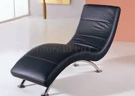 Leather Chaise Lounge Black Color Leather Upholstery Modern Chaise Lounge