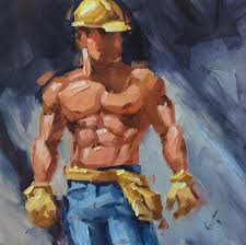 figurative male figurative hard body by tom brown original art painting by