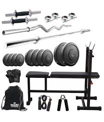 Bench Gym Equipment Headly 50kg Home Gym 14 Inch Dumbbells 2 Rods 3 In 1 I D F