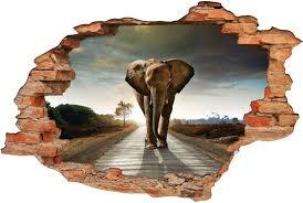 sticker trompe oeil stickers trompe l u0027oeil 3d eléphant pas cher