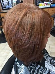 red brown long angled bobs natural red hair grey blending with copper red highlights and gold