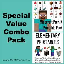 free minecraft inspired printable pages worksheets activities