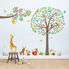 scroll tree and branches with animals wall stickers large scroll tree branches with animals wall stickers