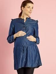 gathered denim maternity dress maternity kiabi 29 00eur