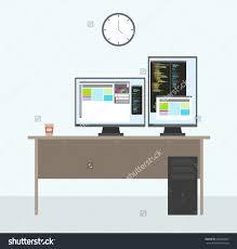 Programmer Desk Setup Programmer Working Place Two Monitors Full Stock Vector 460020487
