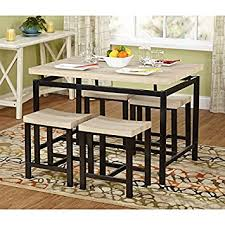 amazon com delano two tone 5 piece dining set brown metal legs