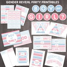 gender reveal party supplies printable boy or party