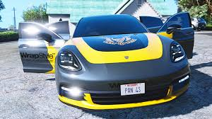 yellow porsche panamera porsche panamera 4s 2017 add on replace livery gta5 mods com