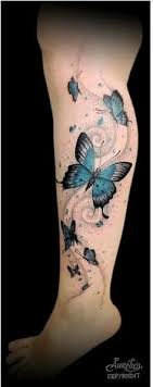flower leg tattoos butterfly tattoos with flowers on leg