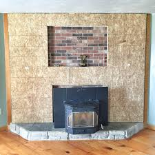 stone veneer fireplace surround over brick round designs