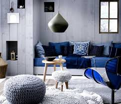 Dark Blue Living Room by White Braided Rug And Stylish Mounted Bench For Luxurious Navy
