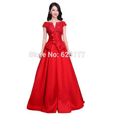 a line red wedding dress satin wedding gown formal dress wedding