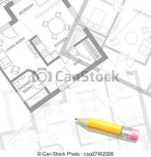 architect plan clip vector of vector furniture architect plan of building set