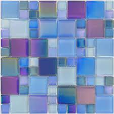 Blue Glass Tile Bathroom Interior Tesoro Unique Shapes Blue Glass Tile Glossy Marine