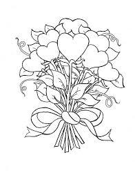 beautiful bouquet hearts roses coloring color luna
