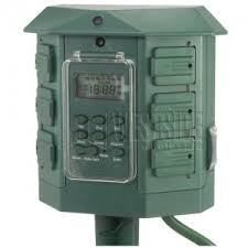 ge 15144 6 outlets heavy duty digital outdoor stake timer green