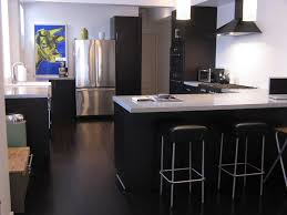 dark cork kitchen flooring white l shape kitchen design and dark