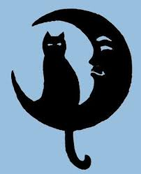 cat on moon 16 inch diameter metal wall by rustiques
