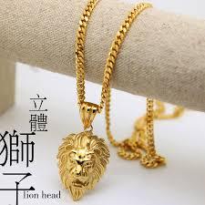 men gold necklace pendant images Jhnby lion head pendants necklace high quality fashion hiphop 70cm jpg