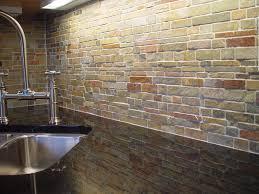 Kitchen  Faux Stone Kitchen Backsplash Combined With Black Wooden - Backsplash canada