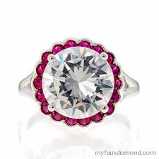 faux engagement rings cubic zirconia cut 5a cz silver ruby halo ring my faux