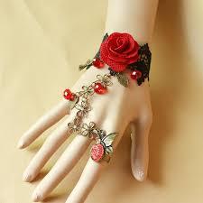 bracelet ring online images Hot sell vintage black lace rose bracelet ring fashion women jpg