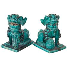 foo dog bookends large aqua foo dogs late 1800s china for sale at 1stdibs
