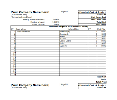 Sheets Template Excel Blank Estimate Template 23 Free Word Pdf Excel Sheets